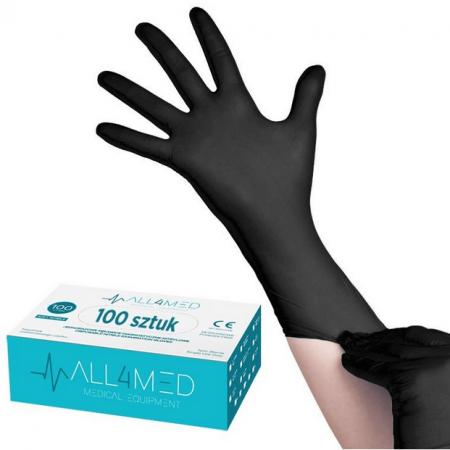 All4MED vienkartinės nitrilo juodos pirštinės